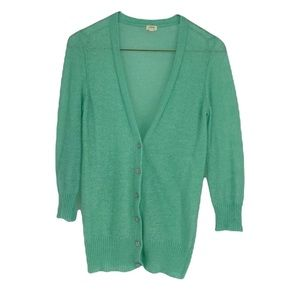 J Crew lime pastel green mohair acrylic wool blend knit buttoned cardigan